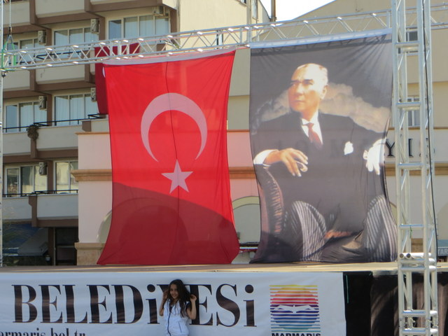 Portrait of Ataturk hangs in the Marmaris public square in honor of National Sovereignty and Children's Day, (April 23, 2013)