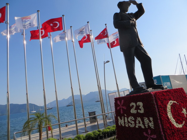 Flowers adorn the statute of Ataturk at the waterfront of Marmaris in honor of National Sovereignty and Children's Day, (April 23, 2013)