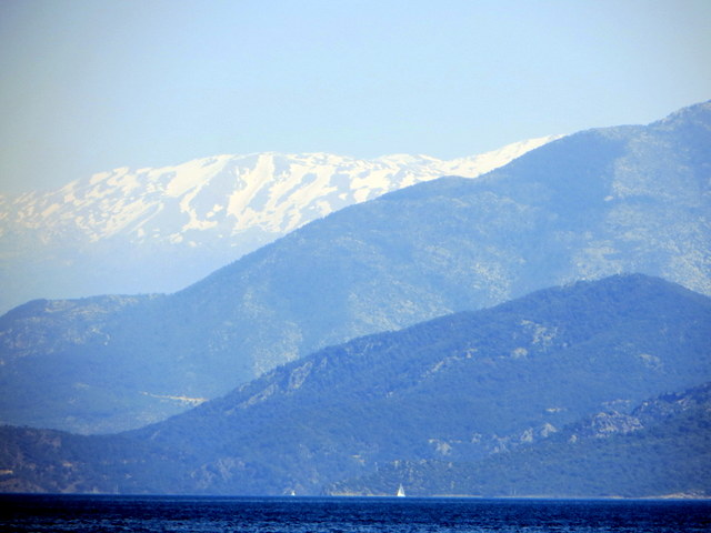 Snow capped mountains in the distance, Gulf of Fethiye