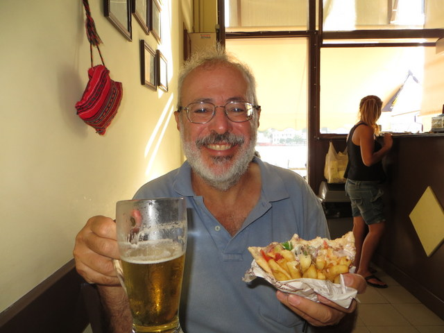 Gyros and a cold beer after the check-in