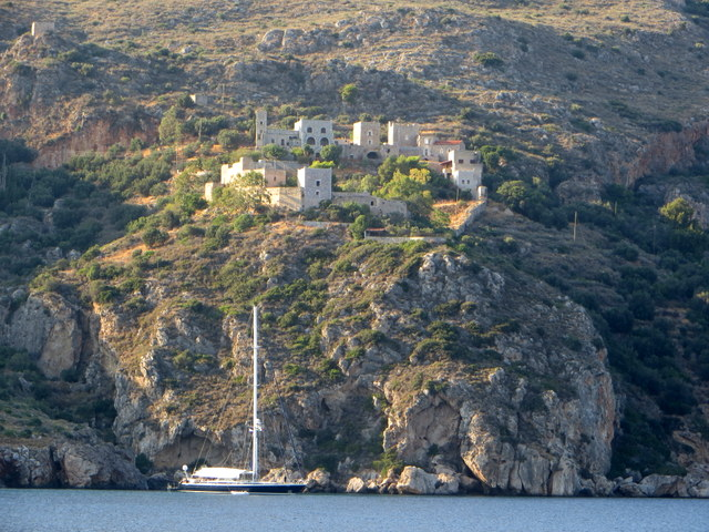 Village on the cliff, Porto Kayio, Peloponnese