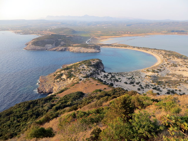 Voidhokolia Bay viewed from the top of the Palaiokastro, Navarinou