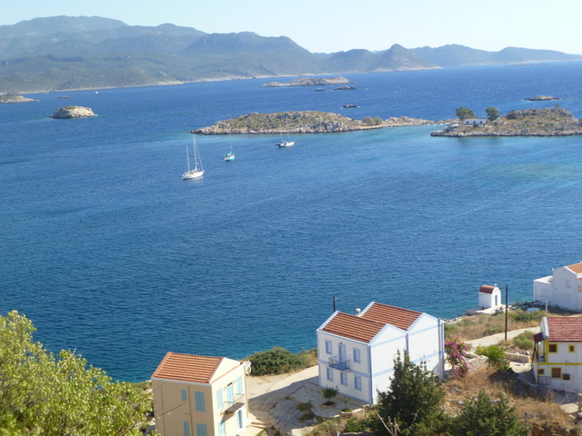 View from the ruined castle at Kastellorizo toward the anchorage at Mandraki Bay and the shore of Turkey in the background