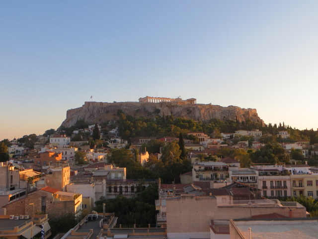 View to the Acropolis from ouor hotel in Athens