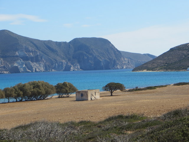 View of shepard's hut on Despotiko Island with Sabbatical III and Antiparos in the background