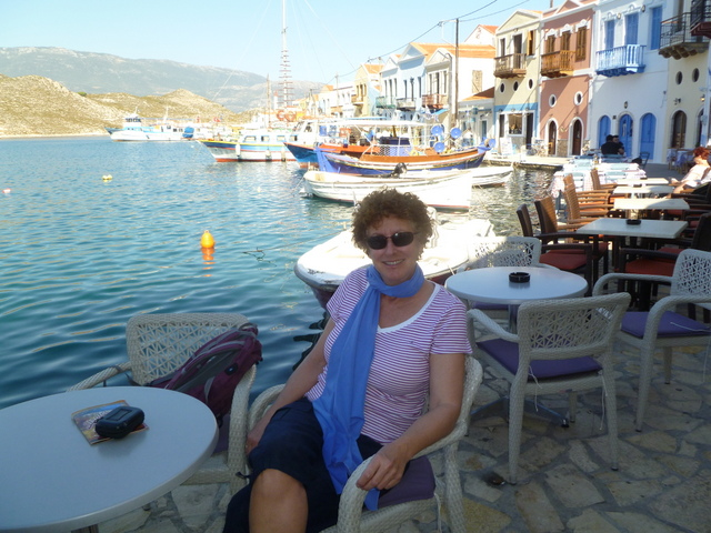 Laura at taverna, Kastellorizo