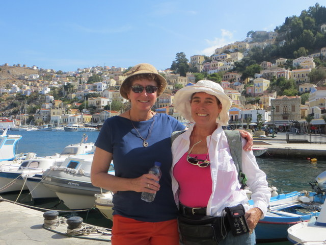 "Melinda (of ""Sassoon"") and Laura at Symi Harbor"