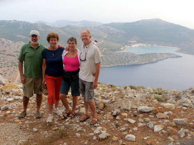 Melinda and Davd (Sassoon) and Mark and Laura overlokking Panormittis Bay