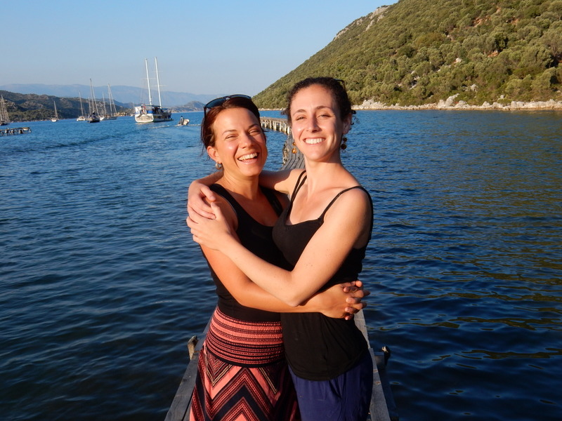 Hannah and Adina at Aperlae Restaurant, Polemos Buku (Kekova)