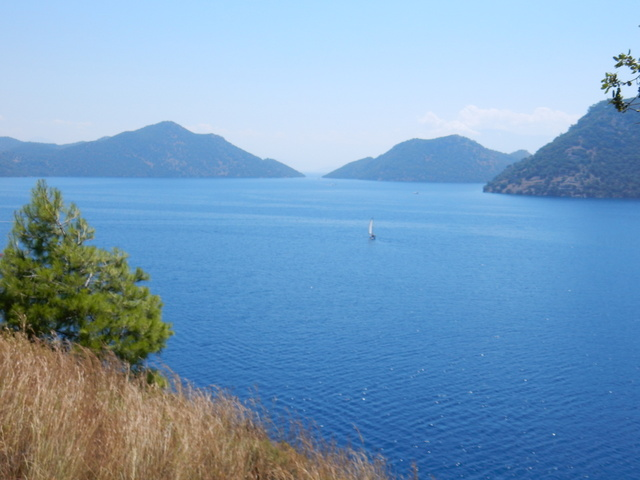 View of Skopea Limani (Bay) from the trail to Ruin Bay (Göcek)