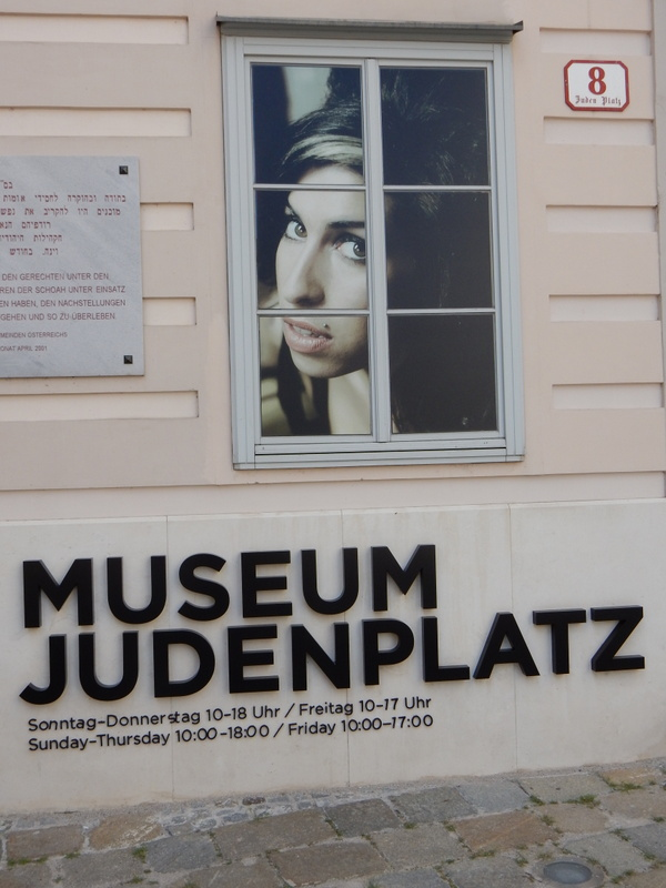 Amy Winehouse stares out of the Jewish Museum, Vienna