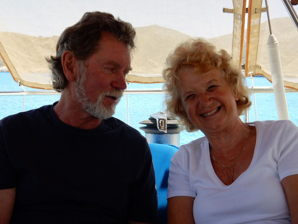 "David and Beverly of ""Wight Egret"" at lunch on Sabbatical III at Arkhangelos Island"