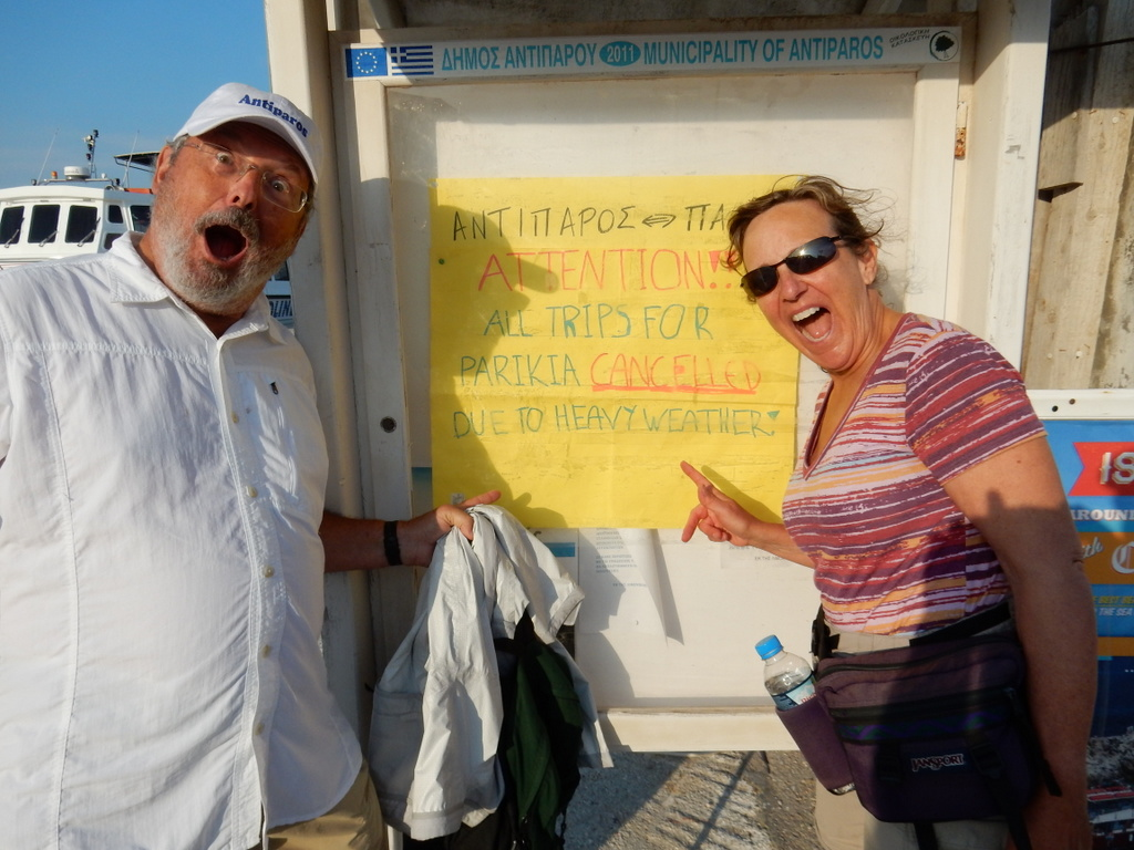 High winds and seas cancels the ferry from Antiparos to Paroikia, Paros that Cathy and Brock planned to take
