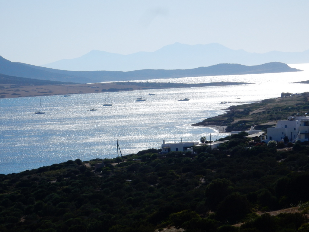 Despotiko anchorage bounded by Despotiko Island in the distance and  St. Georges, Antiparos in the foreground
