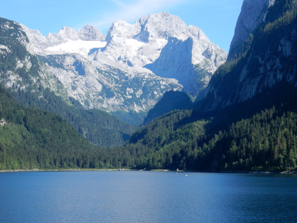 Lake Gosau (Gosausee) with the Dachstein Glacier in the distance.