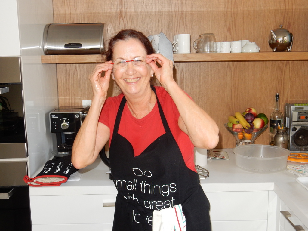 Mark's cousin Rachela in her kitchen in Ramat Gan