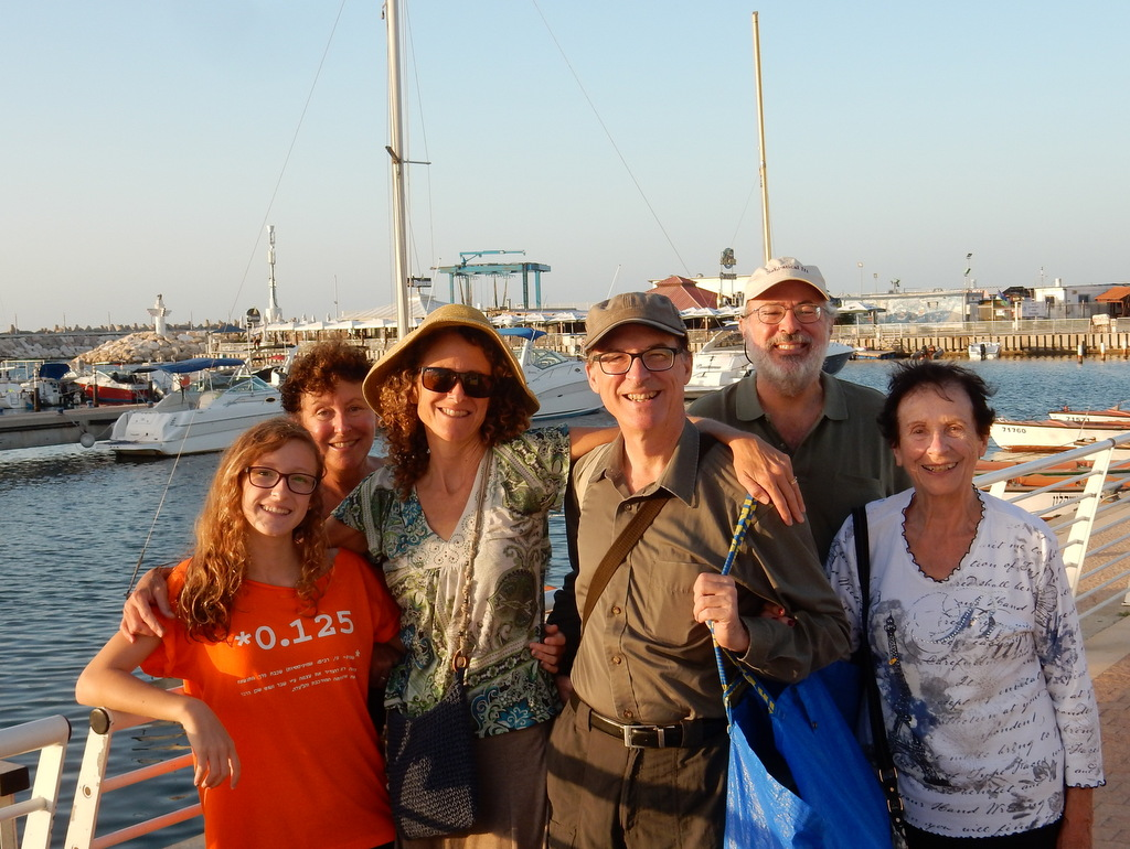 The Bloomfield-Saunders family poses at the Ashkelon Marina. From left to right: Laura's niece, Laura, Laura's sister, her husband, Mark, Laura's Mom