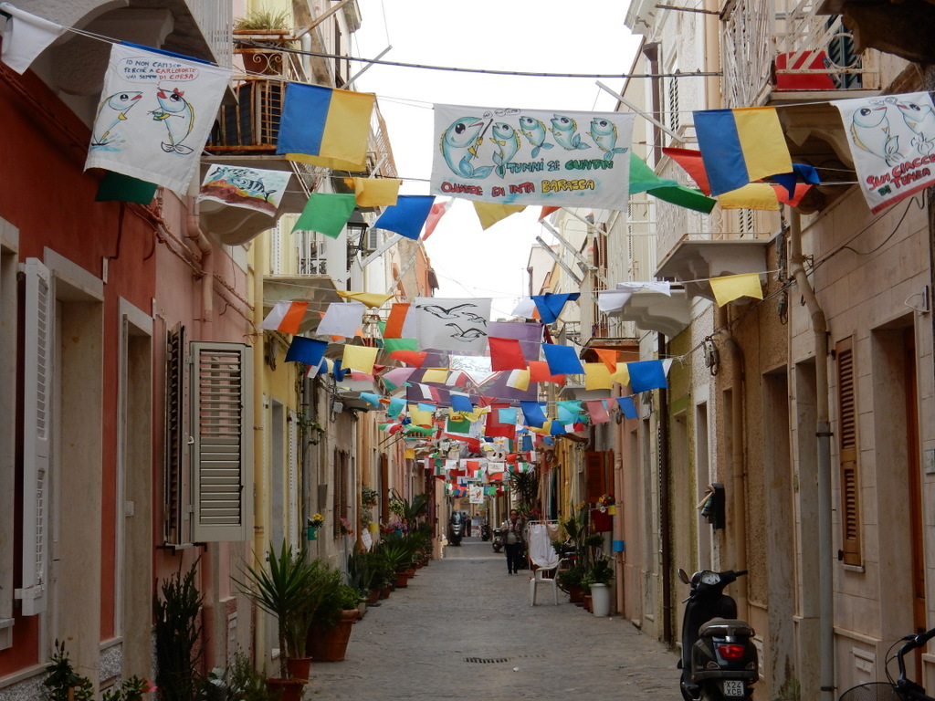 Street in Carloforte decorated for Giro Tonna (Tuna Festival)