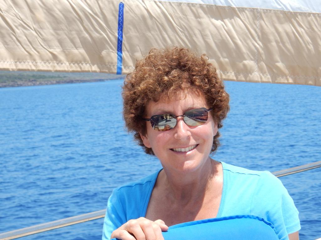 Laura's birthday photo on the sail north from Arbatax