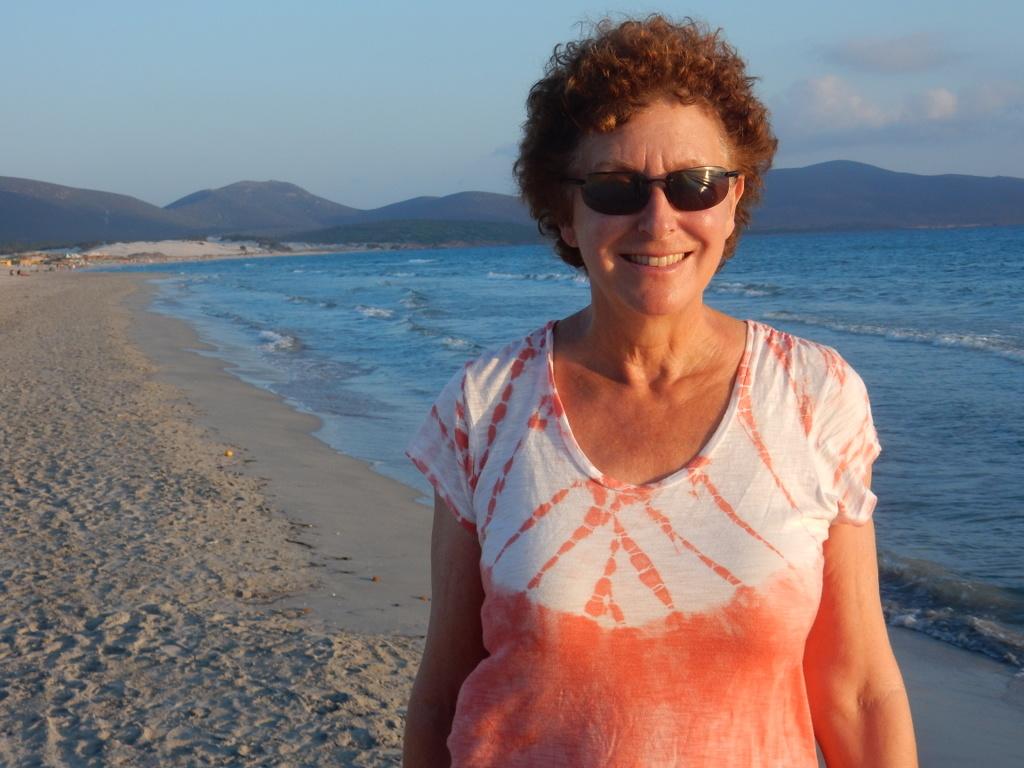 Laura on the beach, Porto Pino