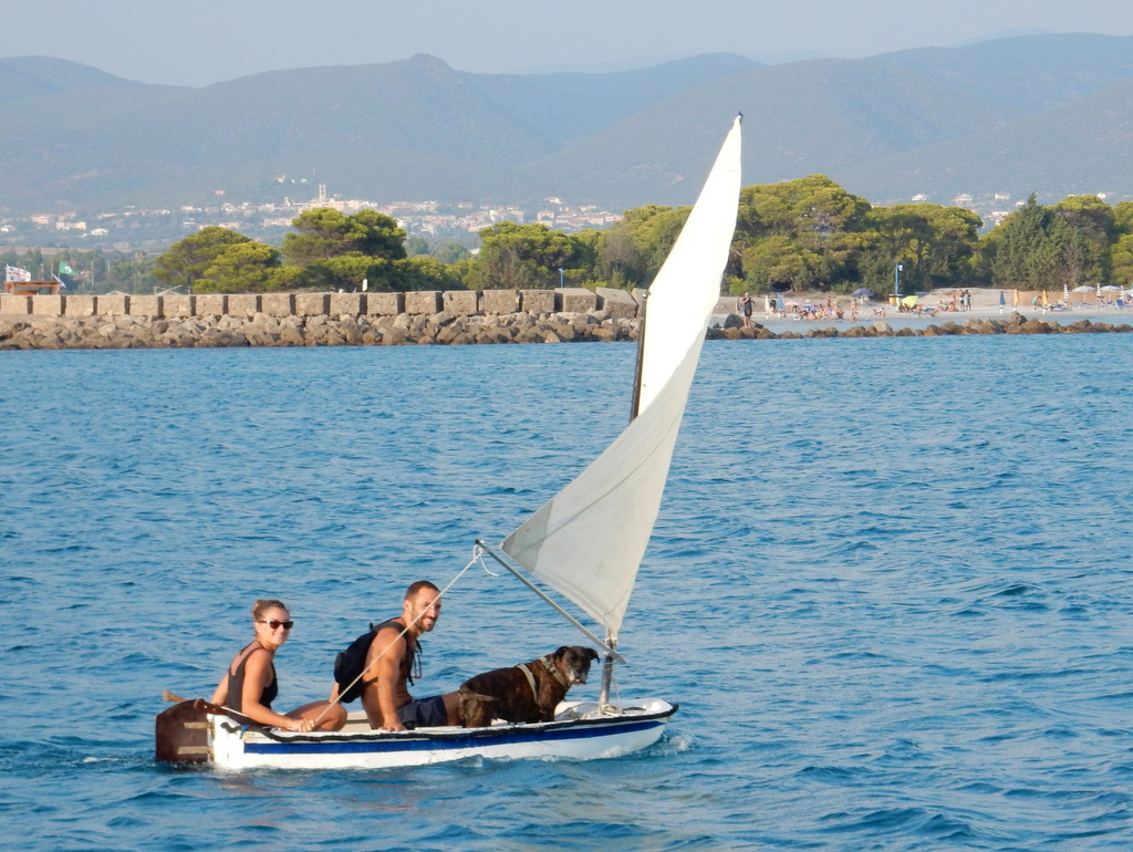 Sailing with a dog, Porto Pino, Sardinia