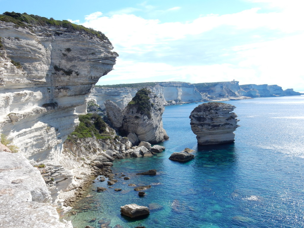 View of the cliffs east of Bonifacio at the southern tip of Corsica
