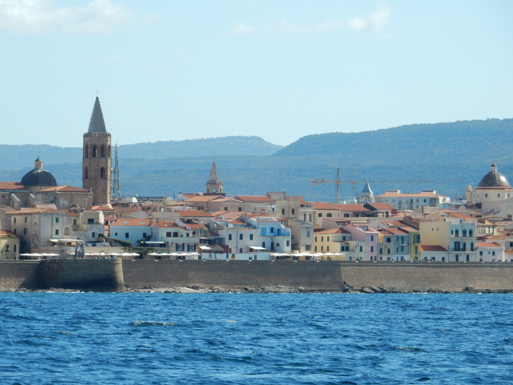 The walled city of Alghero (Sardinia) as seen from the sea