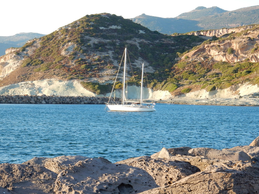 Sabbatical III at anchor in mouth of the River Temo