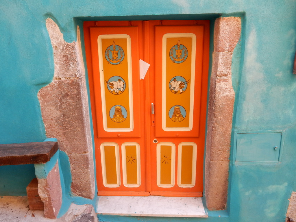 Decorated entrance to a house in Bosa